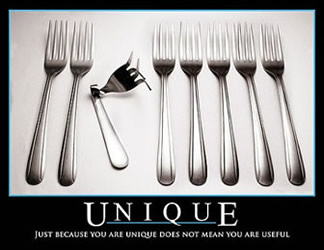 Just because you are unique does not mean you are useful!